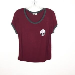 French Pastry Cropped Alien Red Ring Retro Tee L